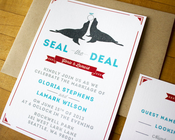 seal the deal wedding invitation