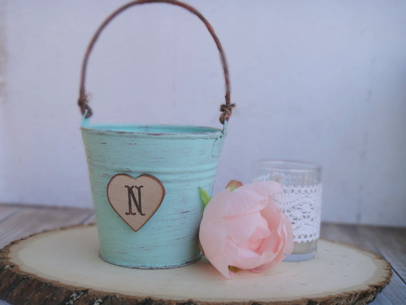 shabby chic flower girl pail 2
