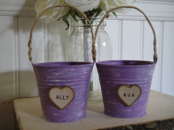 shabby chic flower girl pail