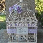 Shabby Chic Lavender Wedding Birdcage Card Holder with Lace and Pearls