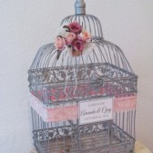 Sweet Shabby Chic Birdcage card Holder with Pink roses