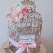 Shabby Chic Birdcage Wedding Card Holder with lace and pearls