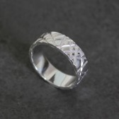 Crosshatch Wedding Band in Sterling Silver