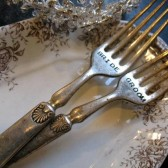 Vintage Silverware Hand Stamped Shell Bride Groom Dinner Fork Set