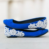 Blue Wedding Flats with Ivory Lace