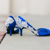 Blue Wedding Shoes with Ivory Lace