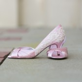 Light Pink Wedding Heels with Ivory Lace