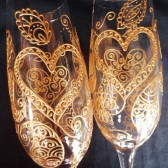 Custom Champagne Flutes- Hand painted in henna style designs, dishwasher safe option to personalize, bride & groom toasting and bridal party gifts