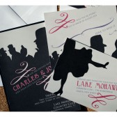 Silhouette Toulouse Lautrec Style Wedding Invitation