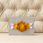 Silk Folio Keepsake and Invitation Set Deposit - Emilie - Gray and Yellow Wedding Invitation