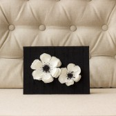 Silk Folio Keepsake and Invitation Set Deposit - Kaija - Black and White Floral Wedding Invitation