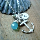 Silver Anchor Necklace With Monogram Disc
