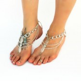 silver-crystal-barefoot-sandals, platinum, chain-anklet, crystal-barefoot-jewelry, beach-wedding-footwear, bridesmaids