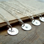 Personalized Initial Silver Charm Necklace - Bridesmaid Set of 4