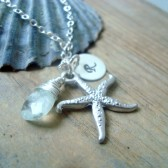 Silver Starfish Necklace With Initial