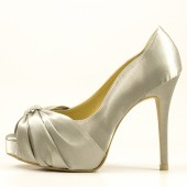 Silver Satin with Rhinestones Bridal Shoes