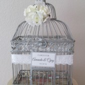 Silver Birdcage Card Holder