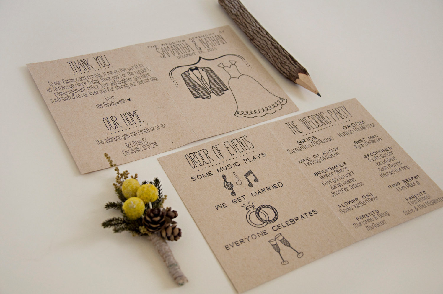 simple wedding program | http://emmalinebride.com/marketplace/simple-wedding-program/