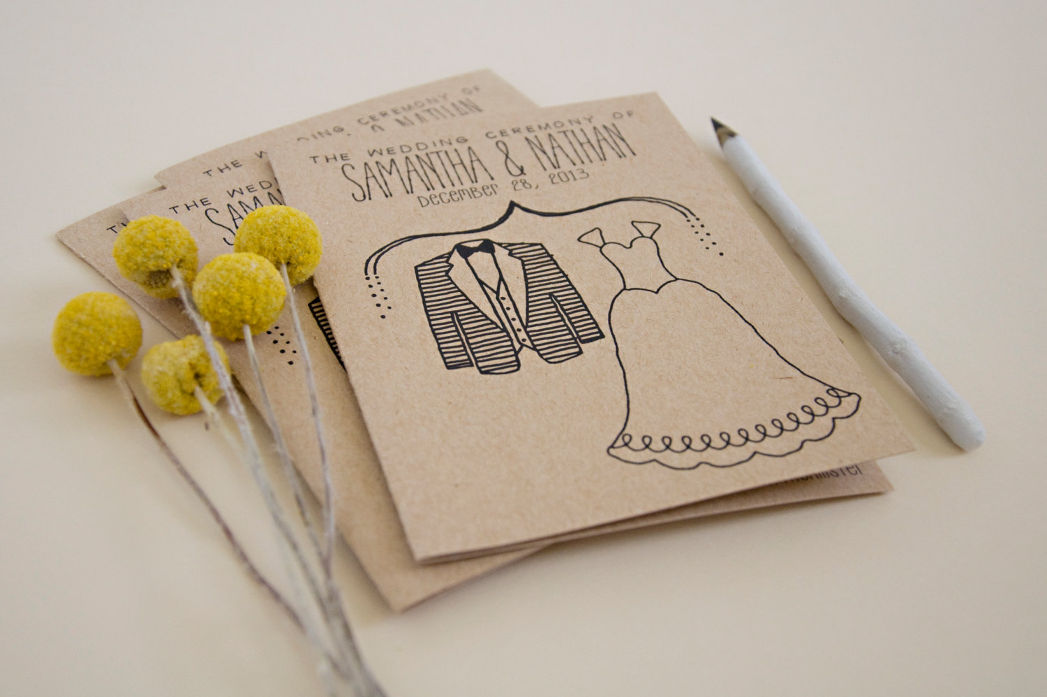 cute simple wedding program