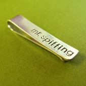 Personalized Skinny Sterling Silver Tie Bar
