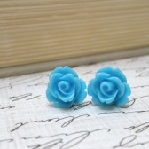Tiny Sky Blue Flower Earrings