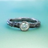twig engagement ring with moissanite and recycled 14k palladium white gold