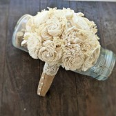 Handmade Wedding Bouquet Small- Ivory Burlap Bridal Bouquet, Keepsake Bouquet, Shabby Chic Wedding, Rustic Wedding