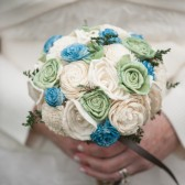 Handmade Alternative Wedding Bouquet - Blue Green Ivory Bridal Bridesmaid Bouquet, Keepsake Bouquet