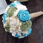 Handmade Wedding Bouquet- Small Turquoise Green Ivory Bridal Bridesmaid Bouquet, Alternative Bouquet, Keepsake Bouquet, Rustic Wedding