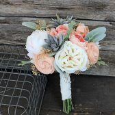 Bridesmaid Bouquet - Faux Succulents, Silk Flowers, Peonies, Cottage Roses, Sola Flowers, Lambs Ear, Dusty Miller Silver Brunia Wedding