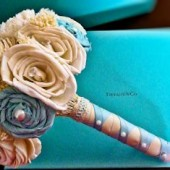 Handmade Tiffany Blue Bridal Bouquet Small-Eco Friendly Wedding Bouquet, Keepsake Bouquet, Vintage Elegant Wedding