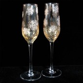 Gold Winter Wonderland Champagne Glasses, snowflakes