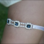 Something Blue Jeweled Garter, 1920's, Rhinestone garter, narrow band Gemstone Garter, wedding garter, bridal garter, something blue