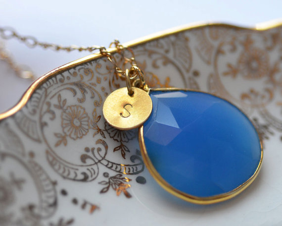 something blue necklace with custom letter charm