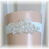 Something Blue Bride's Keepsake Garter, Floral Rhinestone Wedding Garter with Blue Lace