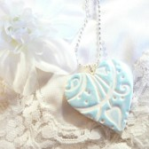 Something Blue, Heart Bouquet Charm, Wedding Decoration, Bride Gift, Bridesmaid Gift, Flowers Charm, Garden Theme Wedding, Nature Theme Wedding, handmade polymer clay