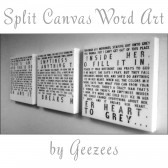 Split Canvas Word Art with lyrics