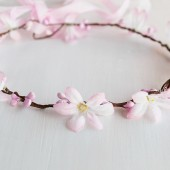 Boho Flower Crown, Light Pink Bridal Crown, Flower Girl Wreath, Pink Woodland Halo,