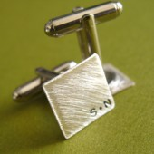 Personalized Monogram Brushed Sterling Cuff Links