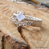 Minimalist Square Moonstone Engagement Ring with Chevron Band in Sterling Silver