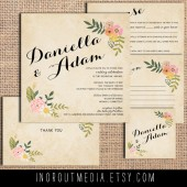 Vintage Floral Swag Invitation Suite
