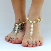 starfish-wedding-sandals, barefoot-sandals, barefoot-jewelry, natural-starfish, ivory, cream, beach