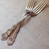 Vintage Silverware Hand Stamped State Forks MR. MRS.