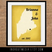 Vintage Rustic Wedding State Print Wall Art