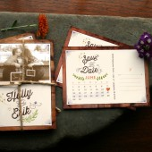 Rustic save the date postcards with a cute calendar on the back. Perfect for vintage or spring weddings. Printable or printed bliss.