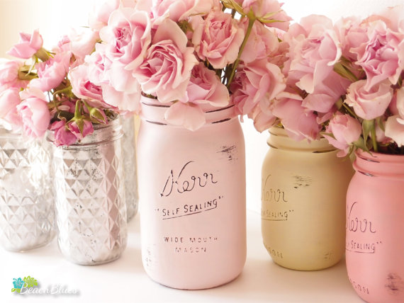 strawberry pink mason jars