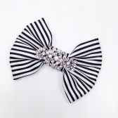 Bow Beautiful Striped Bridal Sash Pin
