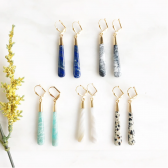 Long Gemstone Drop Earrings in Gold. Gemstone Stick Earrings. Gemstone Statement Earrings.