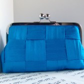 Azure blue silk clutch