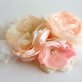 Romantic Garden Rose Flower Clip Hand Dyed flowers Pink and Ivory Bridal Hair clip OOAK
